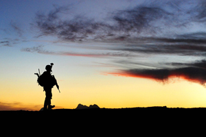 A U.S. Soldier stands in Kandahar province, Afghanistan. Photo: U.S. Air Force, Tech. Sgt. Francisco V. Govea II